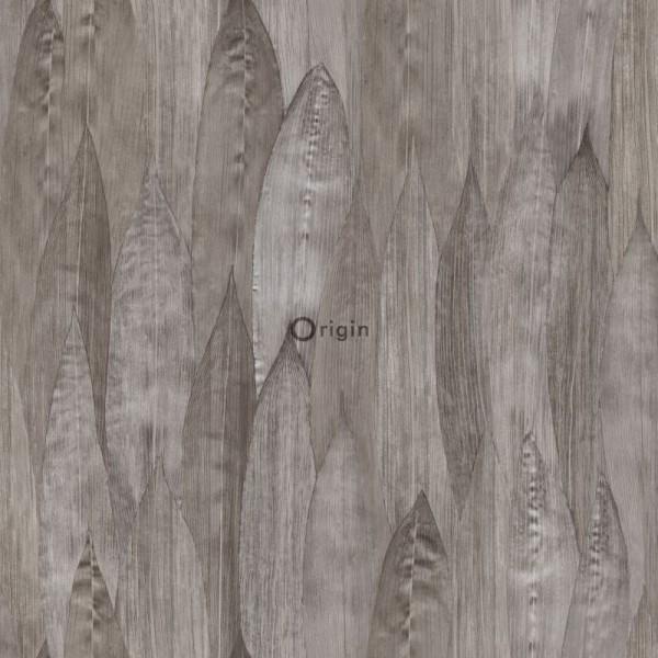 347367 eco texture non-woven wallpaper leaf dark taupe