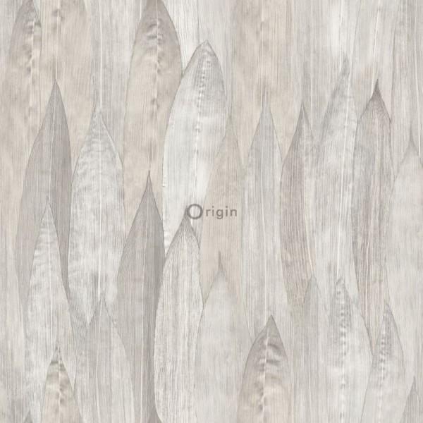 347372 eco texture non-woven wallpaper leaf light beige