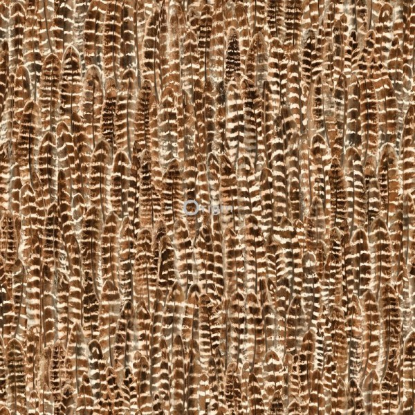 347395 silk printed eco texture non-woven wallpaper feather rust brown